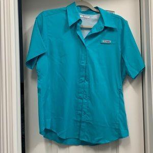 Teal Short Sleeved Women's Columbia Fishing shirt
